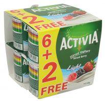 Activia Mixed Berry Light Stirred Yoghurt 6+2 Free 120g x 8