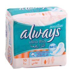 Always Ultra Thin Sensitive Normal Sanitary Pads 10Pcs  sultan-center.comمركز سلطان اونلاين