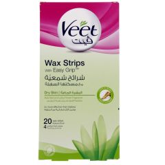 Veet Wax Strips With Easy Grip For Dry Skin + 4 Wipes 20Strips |?sultan-center.com????? ????? ???????