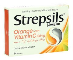 Strepsils Orange With Vitamin C Lozenges 24Pcs |?sultan-center.com????? ????? ???????