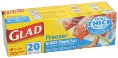 Glad Quart Zipper Freezer Bags 20pcs |sultan-center.comمركز سلطان اونلاين