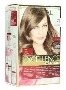 L'Oreal Paris Excellence Creme 7.1 Ash Blonde Hair Color 1Pc |sultan-center.comمركز سلطان اونلاين