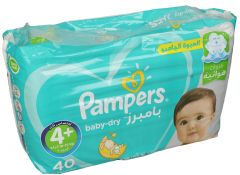 Pampers Active Baby Size 4+ Large Extra Absorbency Diapers 9-16KG