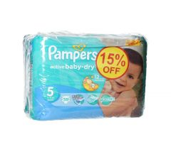 Pampers Active Baby Dry Value Pack Junior Diapers 11-18 Kg size5 38pcs |?sultan-center.com????? ????? ???????