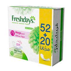 Freshdays Mega Pack Daily Comfort Normal Panty liners  52+20Free |sultan-center.comمركز سلطان اونلاين