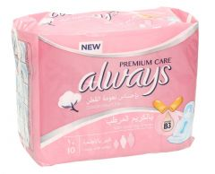 Always Cotton Touch Feel Large Pads With Wings  10Pcs |sultan-center.comمركز سلطان اونلاين