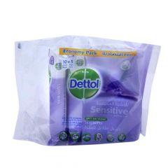Dettol Sensitive Anti-Bacterial Skin Wipes  10Wipes X 5Pcs |?sultan-center.com????? ????? ???????