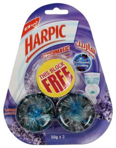 Harpic Lavender Flushmatic Toilet Rim Block 50g x 3pcs |?sultan-center.com????? ????? ???????
