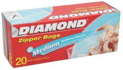 Diamond Medium Zipper Freezer Bags 20pcs |sultan-center.comمركز سلطان اونلاين