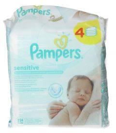 Pampers Sensitive Baby Wipes  56 x 4pcs |?sultan-center.com????? ????? ???????