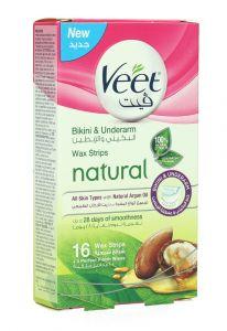 Veet Natural Bikini & Underarm Wax Strips For All Skin Types 16Strips |?sultan-center.com????? ????? ???????