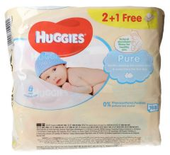 Huggies Pure Gentle Cleaning Baby Wipes 2+1Free 56pcs |?sultan-center.com????? ????? ???????