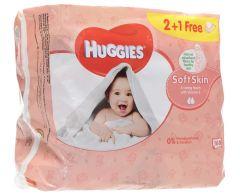 Huggies Soft Skin Baby Wipes With Vitamin E  2+1Free |?sultan-center.com????? ????? ???????