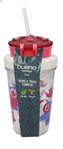 Bueno Bpa Free Owl Pink Kids Drink & Snack Tumbler