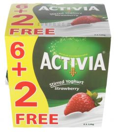 Activia Strawberry Stirred Yoghurt 6+2Free 120G |?sultan-center.com????? ????? ???????