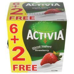 Activia Strawberry Stirred Yoghurt 6+2Free 120G  sultan-center.comمركز سلطان اونلاين