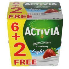Activia Light Strawberry Stirred Yoghurt 6+2Free 120G  sultan-center.comمركز سلطان اونلاين