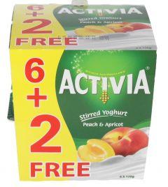 Activia Peach & Apricot Stirred Yoghurt 6+2Free