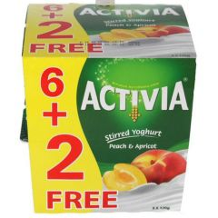 Activia Peach & Apricot Stirred Yoghurt 6+2Free 120g  sultan-center.comمركز سلطان اونلاين