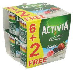 Activia Mixed Berry Light Stirred Yoghurt 6+2 Free