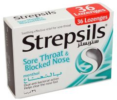 Strepsils Sore Throat & Blocked Nose Lozenges With Mentol 36Pcs |?sultan-center.com????? ????? ???????