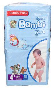 Sanita Bambi size 4+ large 10-18Kg jumbo pack diapers