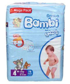 Sanita Bambi size 4+ large 10-18Kg mega pack diapers