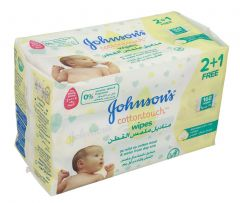 Johnson's Baby Cotton Touch Wipes 2+1 Free