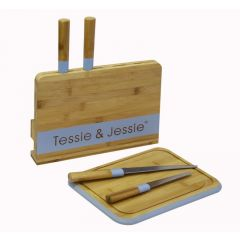 Tessie & Jessie Oval Bamboo Cutting Board