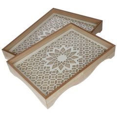 2 Piece White Flower Wooden Tray With Glass