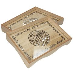 Wooden Tray With Glass