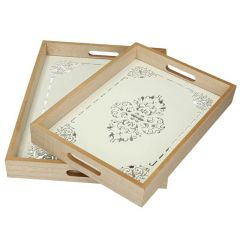 2 Piece White Wooden Tray With Glass Set