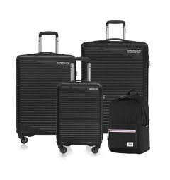 American Tourister Sky Park Black Luggage With Backpack Set